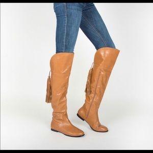 Tan Vegan over the knee boots